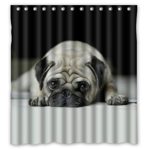 Cute Pug Dog Shower Curtain Duschvorhang Mops aus 100prozent Polyester, wasserdicht, 167,6 x 182,9 cm