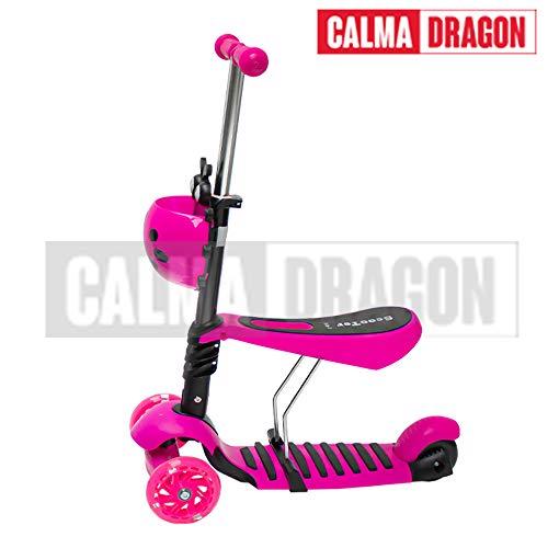 Calma Dragon Patinete YX-S49 Scooter 3 en 1, Tres Ruedas de LED, Altura Ajustable con Cesta de Mariquita, para Niños y Niñas, con Protección de Regalo