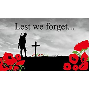 Remembrance Sunday Poppy Lest We Forget 5'x3' (150cm x 90cm) Flag:Interoot