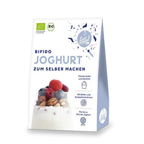 Fairment Bio Joghurtferment zur Herstellung von Joghurt mit Bifido-Kulturen - Joghurt selber machen - enthält 3 Beutel Joghurt-Starterkulturen für die Herstellung von bis zu 30 Liter Sojajoghurt usw.