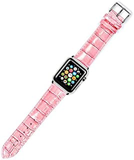 Crocodile Skin Leather Wristband Strap For Smart Watch 38mm - Pink