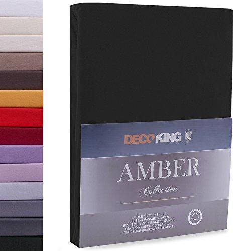 """#10 DecoKing Jersey Spannbettlaken, Spannbetttuch, Bettlaken, """"Amber Collection"""", 80x200 cm - 90x200 cm, Schwarz"""