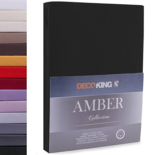 "#10 DecoKing Jersey Spannbettlaken, Spannbetttuch, Bettlaken, ""Amber Collection"", 80x200 cm - 90x200 cm, Schwarz"