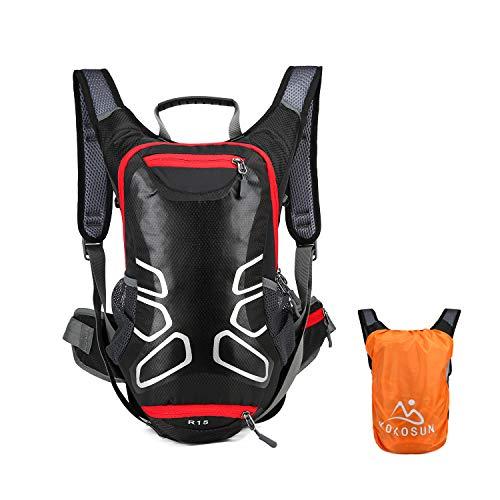 KOKOSUN Fahrradrucksack 15L Fahrrad Rucksäcke mit Regenschutz und Helmabdeckung Wasserdichter Ultralight für Outdoor MTB Radsport Wandern Bergsteigen Hydration (Schwarz)