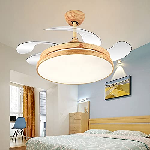 L-WSWS Luz del ventilador de techo Luces LED de decoración de dormitorio nórdico para la lámpara de techo de la habitación Lámpara de luz Restaurante Comedor Techo Fans con luces Control remoto