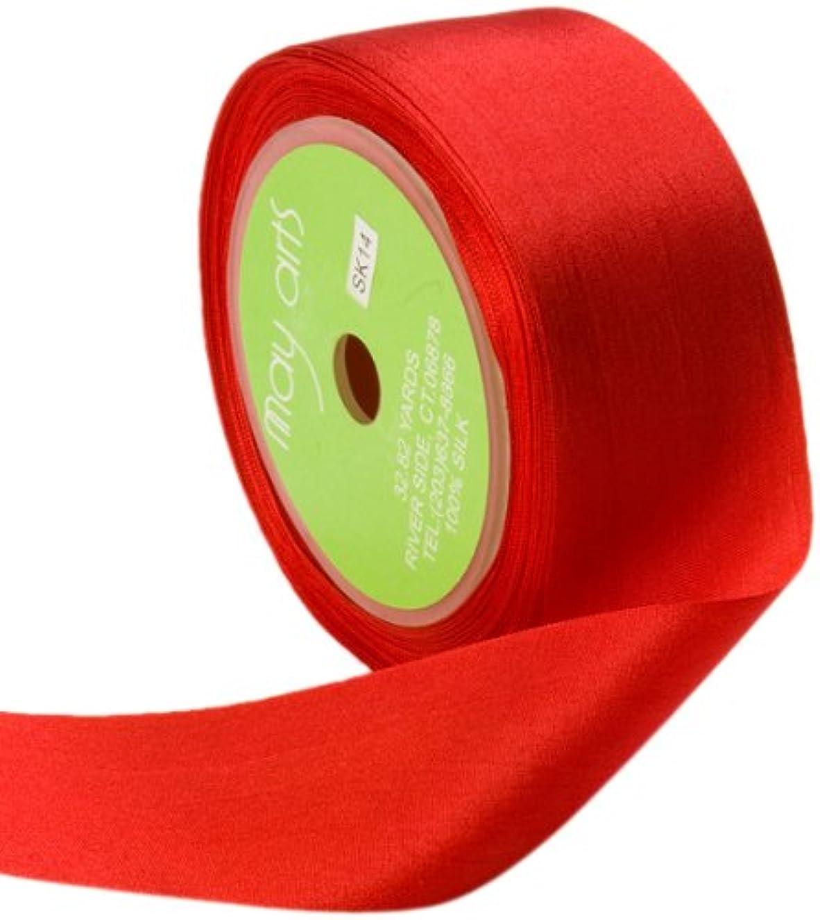 May Arts 1.25 Inch Wide Ribbon, Red Silk Ribbon