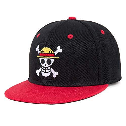 Men's Black Hat Anime One Piece Teen Snapback Embroidered Baseball Cap for Women Men