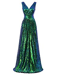 Sleeveless Maxi Sequin Multicolor Green Gown