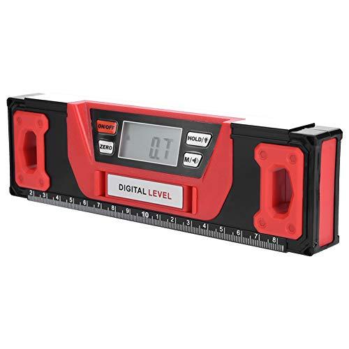 Inclinómetro digital robusto, rojo + negro Buscador de ángulo digital Base magnética 2 pilas AAA Aleación de aluminio resistente Fabricada en aleación de aluminio