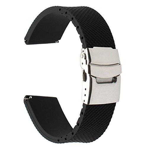 TRUMiRR kompatibel Für Huawei Watch GT/Samsung Gear S3 Classic/Frontier Armband, 22mm Echtes Gummi Uhrenarmband Resin Strap mit Upgraded Verschluss für LG G Watch Urbane,Galaxy Watch 46mm