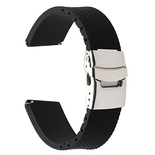 TRUMiRR para Samsung Gear S3 Classic/Frontier/Galaxy Watch3 45mm Correa de Reloj, 22mm Correa de Reloj de Goma Genuina Correa de Resina para LG G Watch Urbane, Huawei Watch 2 (Classic)