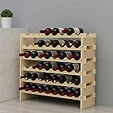 sogesfurniture Porte-Bouteilles en Bois, Casier à Vin Range Bouteille, Étagère à Bouteille en 6 Etages pour 48 Bouteilles de vin, 90x30x81cm, BHEU-BY-WS6848M
