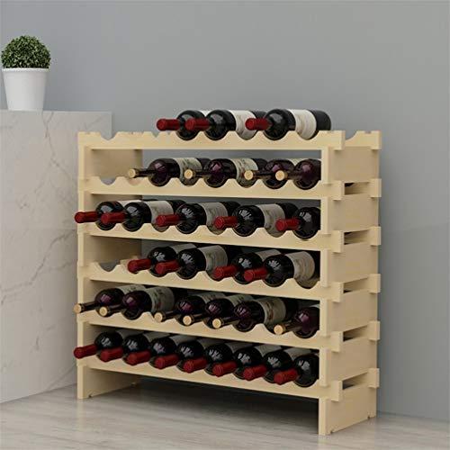 sogesfurniture Weinregal Flaschenregal mit 6 Ebenen für 48 Flaschen Wein Holzregal Weinhalter Weinständer Flaschenständer für Küche, Esszimmer, Bar, 90x30x81cm, BHEU-BY-WS6848M