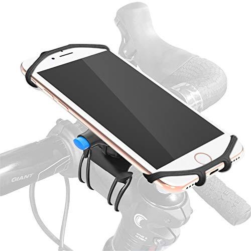 Soporte universal del teléfono de la bicicleta, soporte de teléfono de moto de silicona universal ajustable giratorio 360 °, soporte de bicicleta desmontable compatible para teléfonos inteligentes