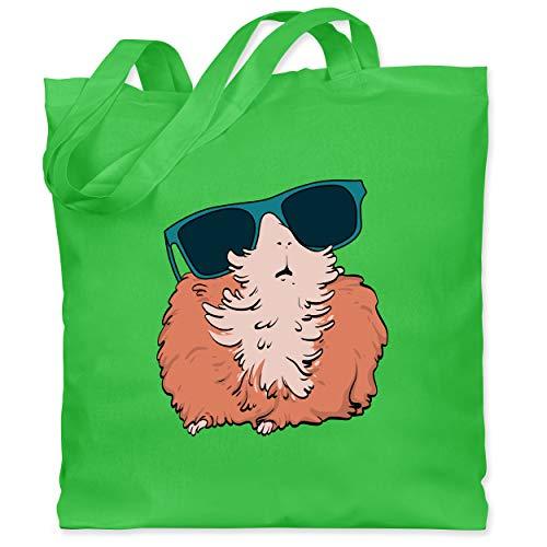Shirtracer Sonstige Tiere - Meerschweinchen mit Sonnenbrille - Unisize - Hellgrün - meerschweinchen stoffbeutel - WM101 - Stoffbeutel aus Baumwolle Jutebeutel lange Henkel