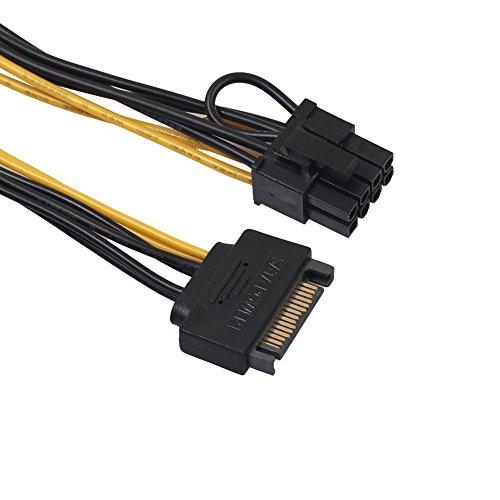Tracffy Power Adapter Kabel, 15 Pin SATA naar 6 Pin 8 Pin PCI, grafische videokaart voedingskabel Adapter voor IDE harde schijf 7 Inch
