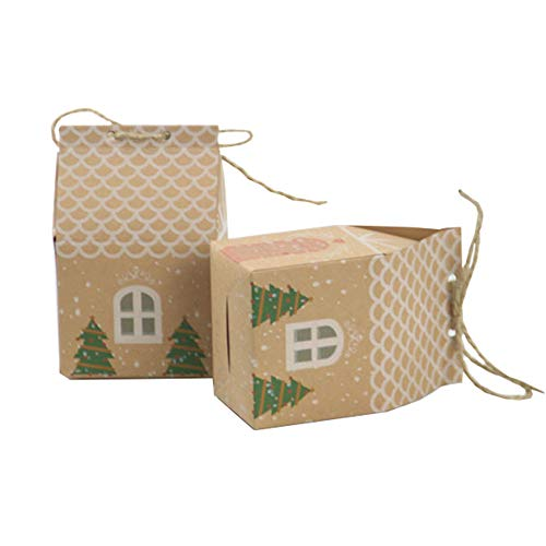 Kingsley 50pcs Bomboniera Confezione regalo di carta kraft natalizia in stile europeo Scatola di biscotti al cioccolato e caramelle Scatole regalo a forma di casetta fresche