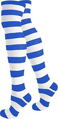 normani® Damen Overknees Geringelt, Blickdicht mit vielen Farbmustern Farbe Weiß/Blau/Breit