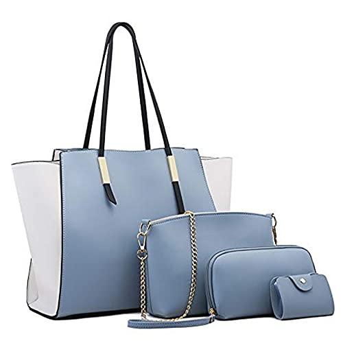 MOSSCATE Bolsos de Mujer,Bolso Señora Tote Grande De Hombro Bolsos de mano Bolsos PU Cuero Bolso Bandolera Tote 4pcs Set(Azul)