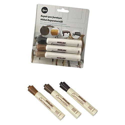 3X Reparaturstifte für Holz, Laminat und Möbel | Korrekturstifte | Lackstifte | Holzstifte in 3 Brauntöne (Hellbraun, Mittelbraun und Dunkelbraun)