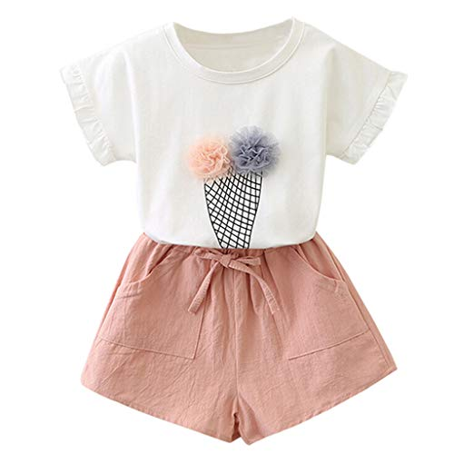 WOCACHI Toddler Baby Girls Clothes, Kids Baby Girls Outfits Clothes Print Flower T-Shirt+Bowknot Shorts Set 2020 Summer Under 5 Dollars Deals Sales Campaign