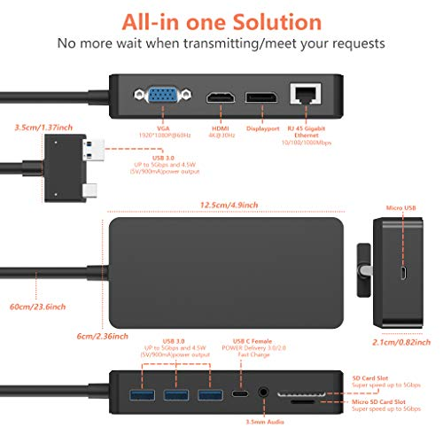 Surface Pro Docking Station für Surface Pro 6 / Pro 5 / Pro 4 USB-Hub-Dockingstation mit Gigabit-Ethernet, 4K-HDMI-VGA-DP-Display-Anschluss, 3xUSB 3.0, Audioausgang, USB C-Anschluss, SD/TF-Kartenleser