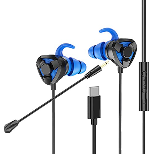Trusway in-Ear Wired Headphones Earbuds with Microphone and Volume for High Sensitivity Surround Sound Ergonomic 3.5mm Type-C Gaming HiFi for Doing Sports Black Blue-Type-c