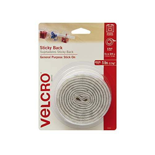 VELCRO Brand 5 Ft x 3/4 In | White Tape Roll with Adhesive | Cut Strips to Length | Sticky Back Hook and Loop Fasteners | Perfect for Home, Office or Classroom