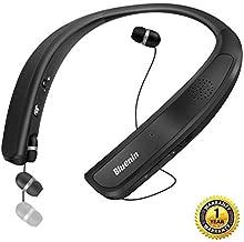 Bluetooth Headphones Speaker 2 in 1,Bluenin Neckband Wireless Headset Wearable Speaker True 3D Stereo Sound Sweatproof Headphones with Retractable Earbuds Built-in Microphone (Titanium Black)