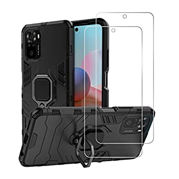 Urspasol for Xiaomi Redmi Note 10 /10s 4G Case  Not for 5G  with Screen Protector Tempered Glass Hybrid Heavy Duty Armor Protective Bumper Cover with 360° Degree Ring Holder Kickstand  Black