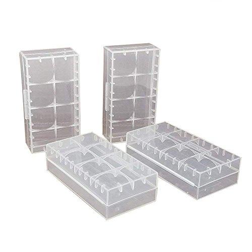4 pcs Clear Color Battery Storage Case Holder Organizer for 18650,SACKORANGE Battery Storage Case for 18650 or CR123A Battery