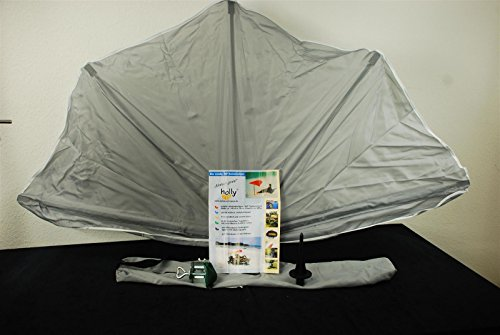 Holly mobiler teleskopierbarer 360° Fächerschirm 140 x 70cm (Grau)