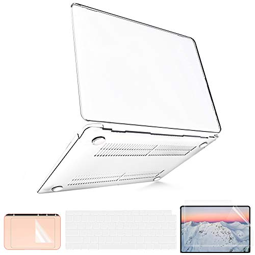 Funda para MacBook Air 13 pulgadas 2020 2019 2018 A2337 M1 A2179 A1932, Funda para MacBook Air 2020 + 2 Funda para Teclado + 1 Protector de Pantalla + 1 Protector para Panel Táctil, Transparente
