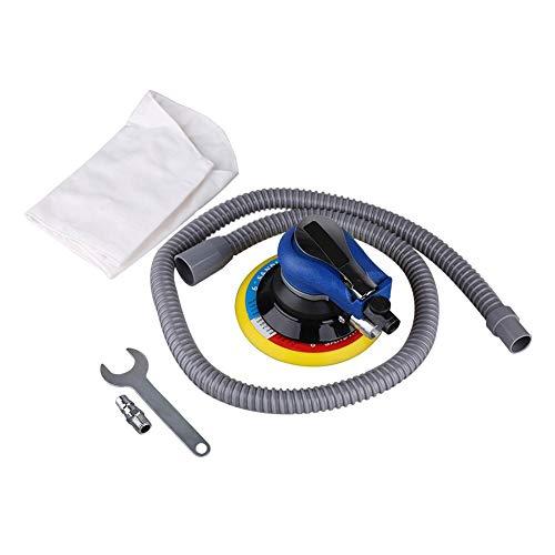 Lijadora neumática, lijadora orbital aleatoria compacta de aire de 1 pieza para herramienta neumática de almohadilla de 6 pulgadas y 150 mm con manguera de recolección de p