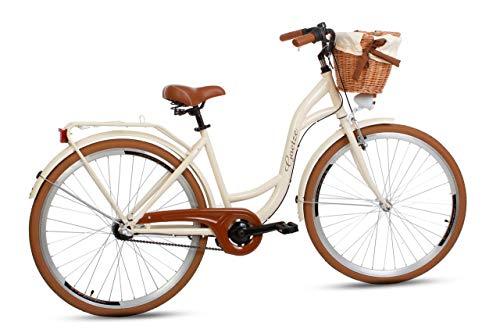 Goetze Damenfahrrad 28 Zoll 3 Gang Damen Citybike Stadtrad Damenrad Hollandrad Retro-Design Weidenkorb LED-Beleuchtung Beige-Braun