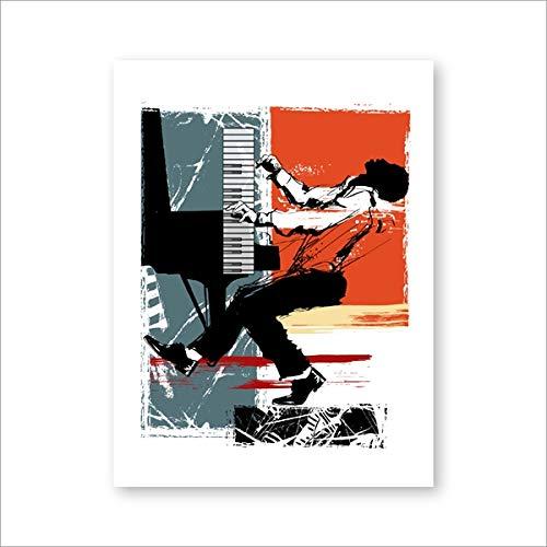 Breeze Leinwand Poster hängen Malerei Wandbild, amerikanische Schwarze Sänger Jazz Illustrator Poster und Musik Reproduktion, 42 * 60cm kein Rahmen