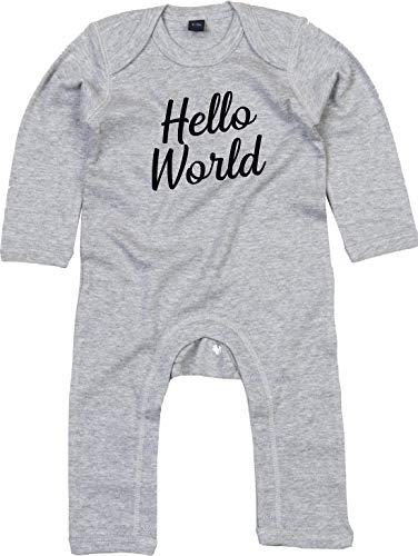 Kleckerliese Combinaison pour bébé Motif Hello World - Gris - 12-18 mois