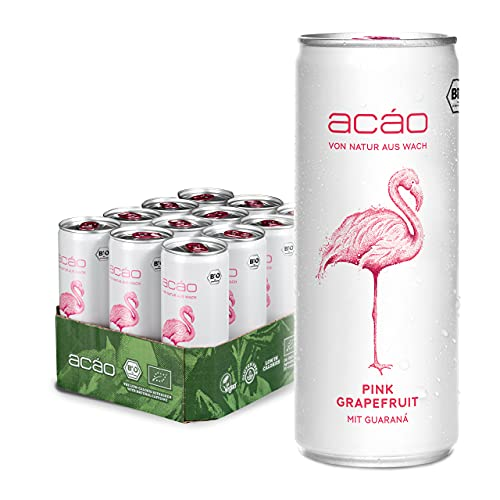 acáo Pink Grapefruit, Bio-Erfrischungsgetränk mit Guaraná (12 × 250 ml), inkl. 3 € Pfand – die gesunde Alternative zu Energy Drinks – kalorienarm, bio-zertifiziert & vegan