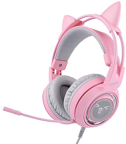 FHW Pink 7.1 Surround Channel Electric Competition Headset Cute Computer Phone live versieren microfoon Game Headset for PS4 Xbox One Pc koptelefoon