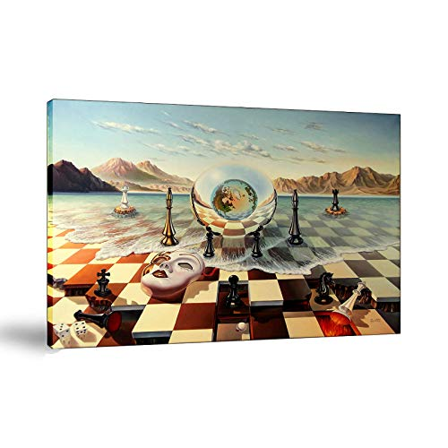 Salvador Dali Surrealism Chess Mask On Sea Abstract Weird Poster Painting On Canvas Bedroom Wall Art Decoration Pictures Home Decor (Framed,18x24inch)