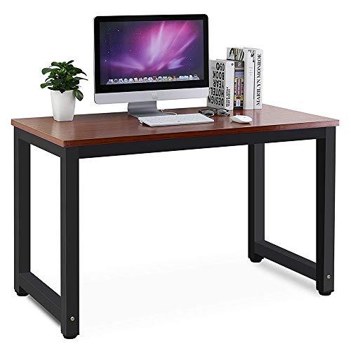 Nicemoods Computertisch, 120 x 60 cm, Arbeitsstation, Heimbüro, Schreibtisch aus Holz und rostfreier lackierter Stahlrahmen für Zuhause, Wohnzimmer, Restaurant (Teak mit schwarzen Beinen)