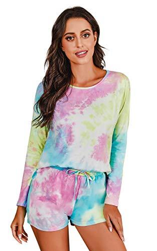 Banamic Women's Tie Dye Printed Pajama Set Sleepwear Nightwear Top and Shorts Pjs Set