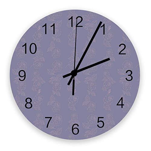 Reloj de Pared Redondo de Madera Vintage Rosas pintadas a Mano Silencioso sin tictac, Reloj de Pared silencioso de Cuarzo con Pilas para el hogar, Oficina, Escuela de 10 Pulgadas