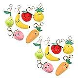 NUOBESTY 7 Pcs Alimentaire Porte-Clés Fruits Porte-Clés Légumes Charmes en Peluche Porte-Clés Suspendus Pendentifs Sac à Dos Clips Goodie Sac Stuffers