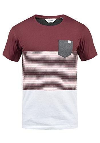 !Solid Malte Herren T-Shirt Kurzarm Shirt Mit Streifen Und Rundhals, Größe:XXL, Farbe:Wine Red (0985)
