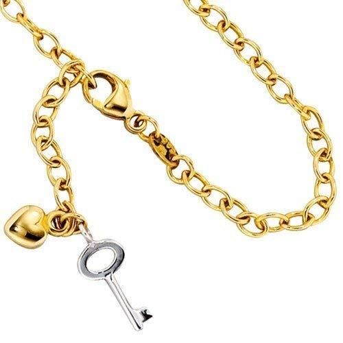 Goldenes Fußkettchen mit Anhänger Schlüssel & Herz Länge ca. 26 cm 585/- Gelbgold mit Weißgold kombiniert Karabinerverschluss (ca. 4,0 g) Fußkette