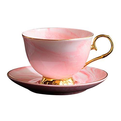 coffeelovershop Tasse Teetasse Kaffeetasse mit Untertasse Set Marmor Tasse Rosa Goldener Henkel edel | 300ml Keramik