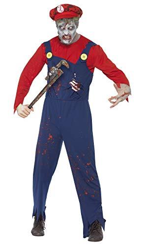 Halloween! Smiffys Zombiekostüm Klempner, Rot, mit Oberteil, Latzhose mit Latexrippen und Mütze