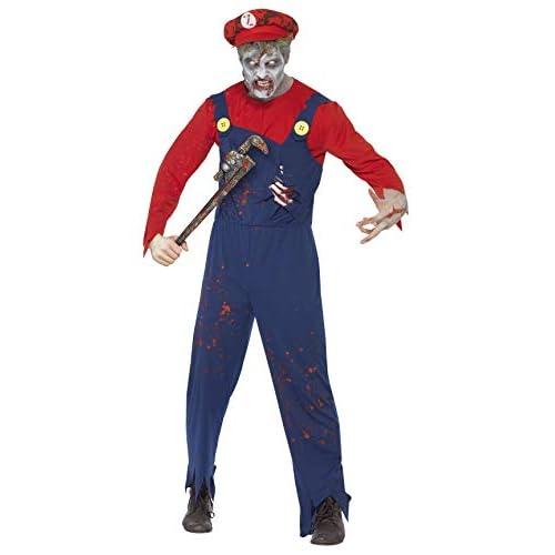 SMIFFYS Costume Zombie Idraulico, Rosso, comprende Top, Salopette con Cassa Toracica in