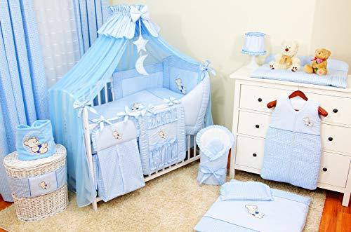 Mega juego ropa de cama cuna de 22 elementos bordada con mosquitera, 100% algodón - lleva un bordado: un osito en la luna para niña y niño, de recién nacido